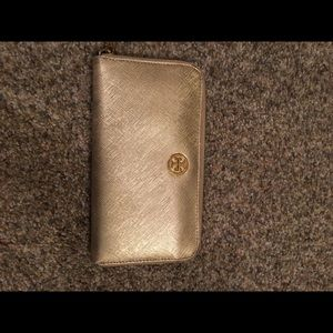 Gold lamee Tory Burch zippered wallet